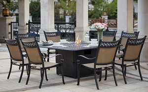 "Patio Furniture Dining Set Cast Aluminum/Sling Chairs 64"" Square Propane Fire Pit Table 9pc Mountain View"