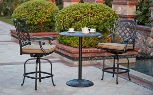 "Patio Furniture Dining Set Cast Aluminum 30"" Round Pedestal Table 3pc Pub Madsion"