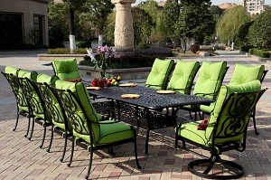 "Patio Furniture Dining Set Cast Aluminum 92-120"" Extension Table 11pc Santa Anita"