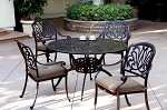 "Cast Aluminum 48"" Round Table 5pc Dining Set – Lisse"