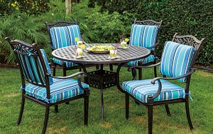 "Patio Furniture Dining Set Cast Aluminum 42"" or 48"" Round Dining Table 5pc Charleston"