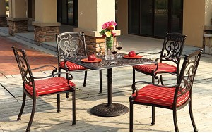 "Patio Furniture Dining Set Cast Aluminum 36"" Square Table 5pc Santa Barbara"