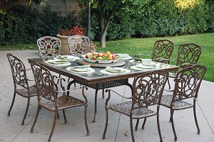 "Patio Furniture Dining Set Cast Aluminum 64"" Square Granite Top Table 9pc Florence"
