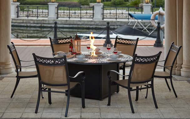 Patio Furniture Dining Set Cast Aluminum 60 Round Propane Fire Pit Table 7pc Mountain View