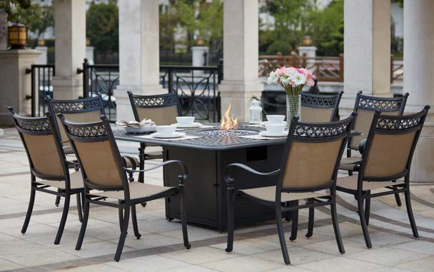 Super Patio Furniture Dining Set Cast Aluminum Sling Chairs 64 Square Propane Fire Pit Table 9Pc Mountain View Squirreltailoven Fun Painted Chair Ideas Images Squirreltailovenorg