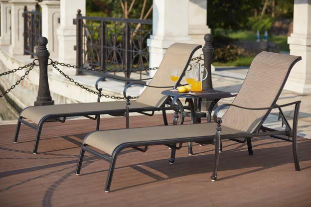 Patio Furniture Cast Aluminum Sling Chaise Lounge Extra