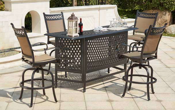 Patio Furniture Party Bar Set Cast Aluminum 5pc Mountain View