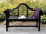 Patio Furniture Bench Eucalyptus Wood Lutyens in Black Lacquer