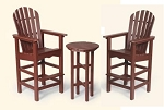 Patio Furniture Bar Set Polyresin Adirondack 3pc