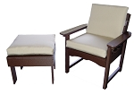 Patio Furniture Deep Seating Arm Chair Set Polyresin Garden Ottoman 2pc