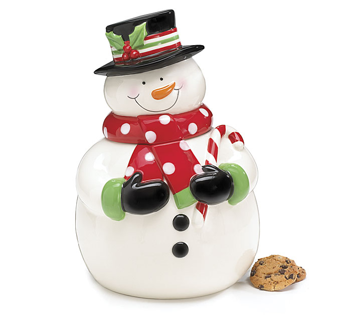 Cookie Jar Ceramic Snowman