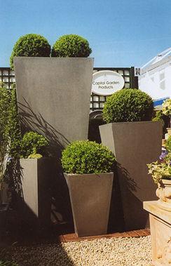 Planter Fiberglass Resin Contemporary Geo Tapered Square