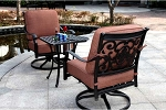 Patio Furniture Cast Aluminum Deep Seating Rocker Set Swivel Club Chair 3pc St. Cruz