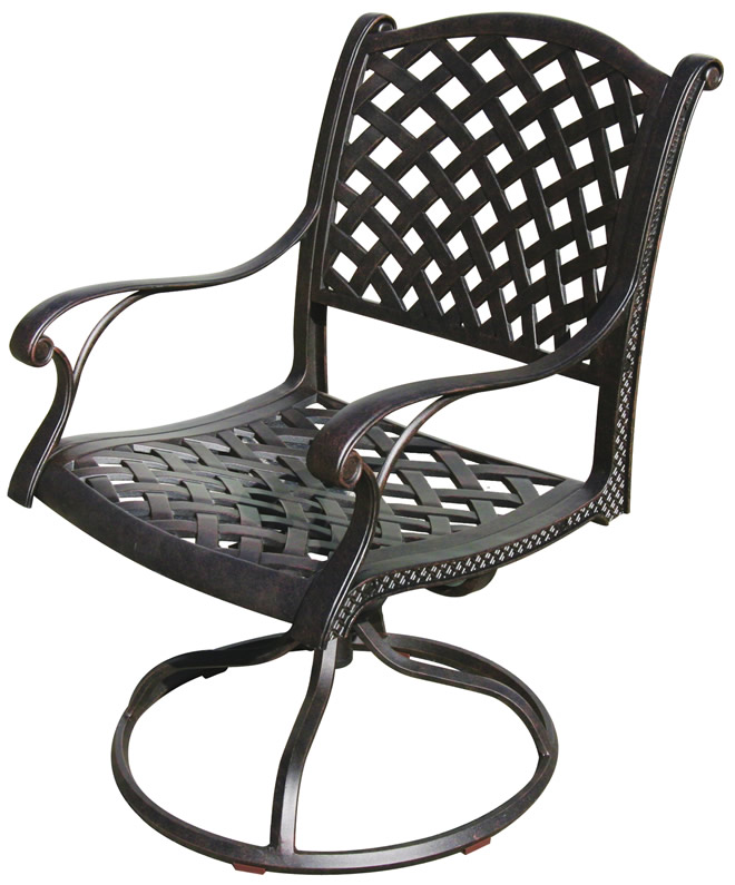 Patio Furniture Rocker Swivel Cast Aluminum Set 2 Nassau