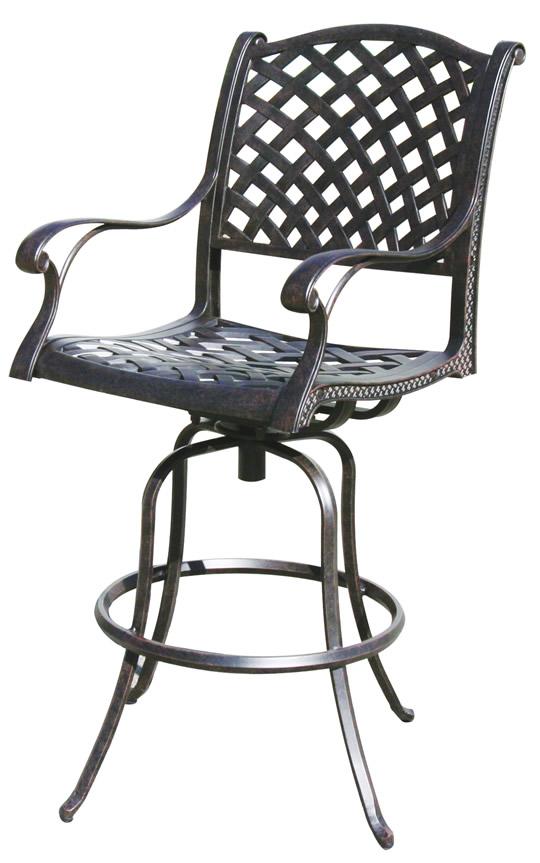 patio furniture bar stool swivel cast aluminum nassau. Black Bedroom Furniture Sets. Home Design Ideas