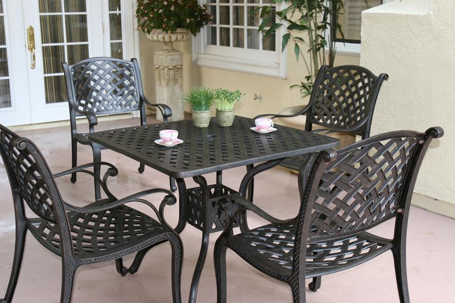 Patio Furniture Dining Set Cast Aluminum 36 Quot Sq Table 5pc