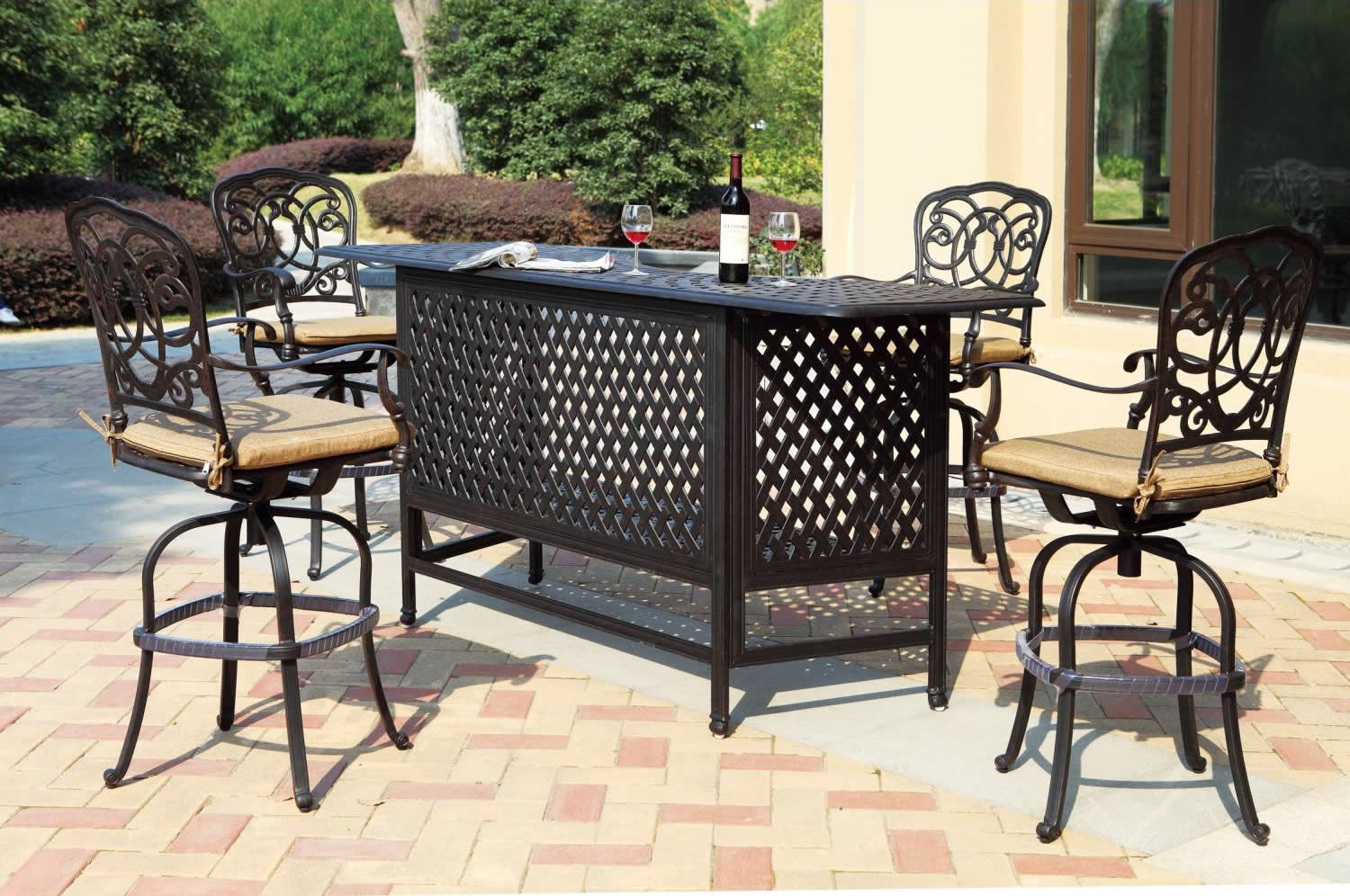 "Patio Furniture Party Bar Set Cast Aluminum 82"" 5pc Florence"