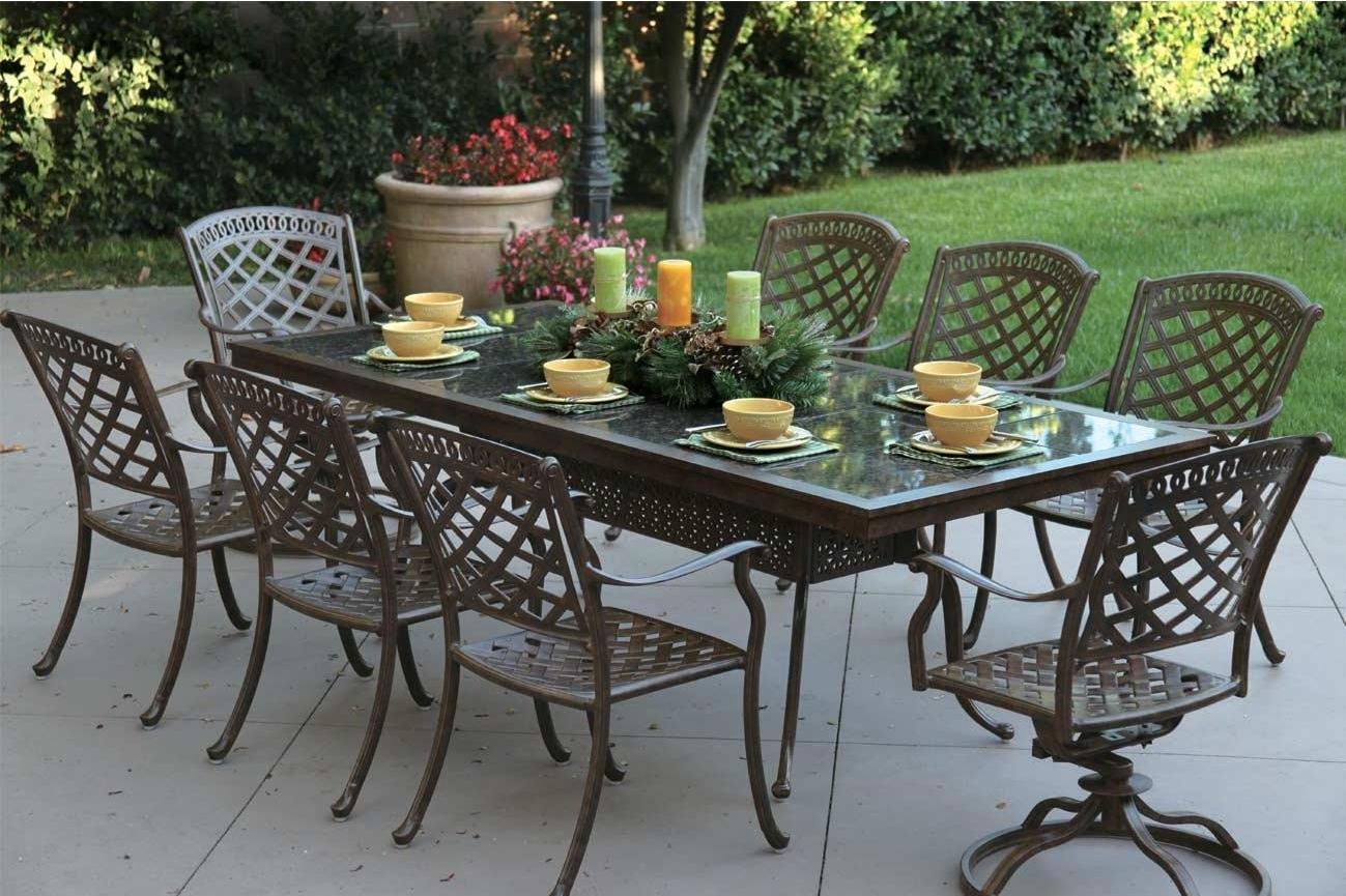 Patio Furniture Cast Aluminum Dining Set91 Rectangular Granite Top Table 9pc Sedona