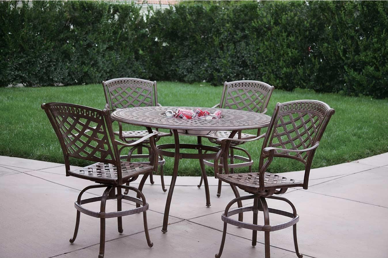 Picture of: Patio Furniture Dining Set Cast Aluminum 52 Round Table W Ice Bucket Insert 5pc Pub Sedona