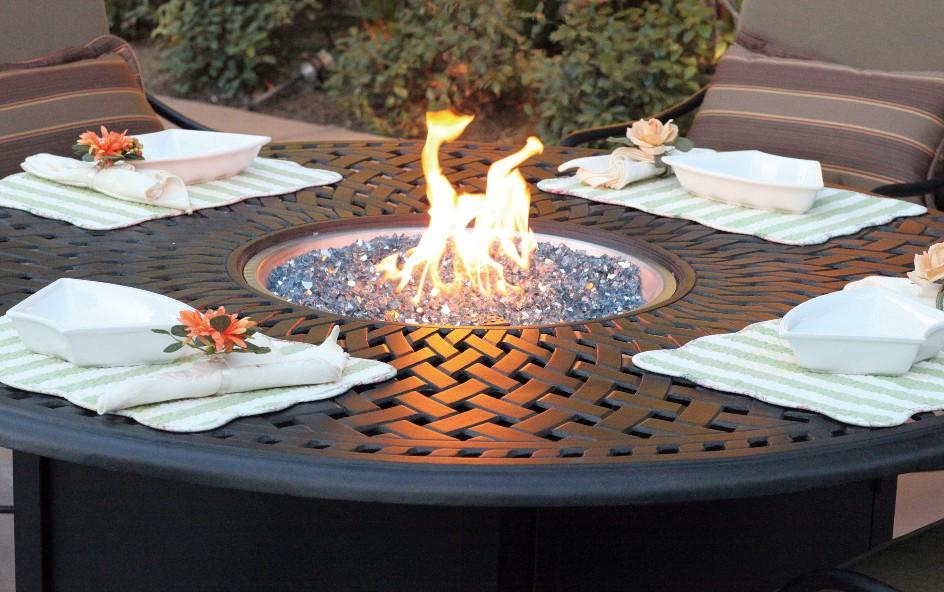 Patio Furniture Dining Set Cast Aluminum 60 Round Propane Fire Pit Table 7pc Capri