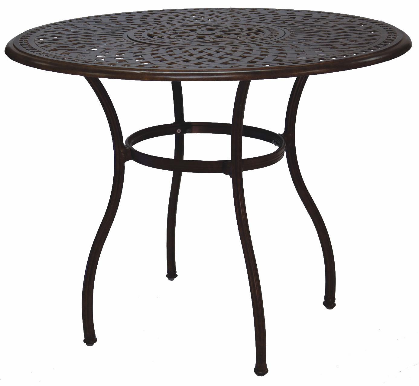 52 Round Table.Patio Furniture Dining Set Cast Aluminum 52 Round Table W Ice Bucket Insert 5pc Pub Sedona