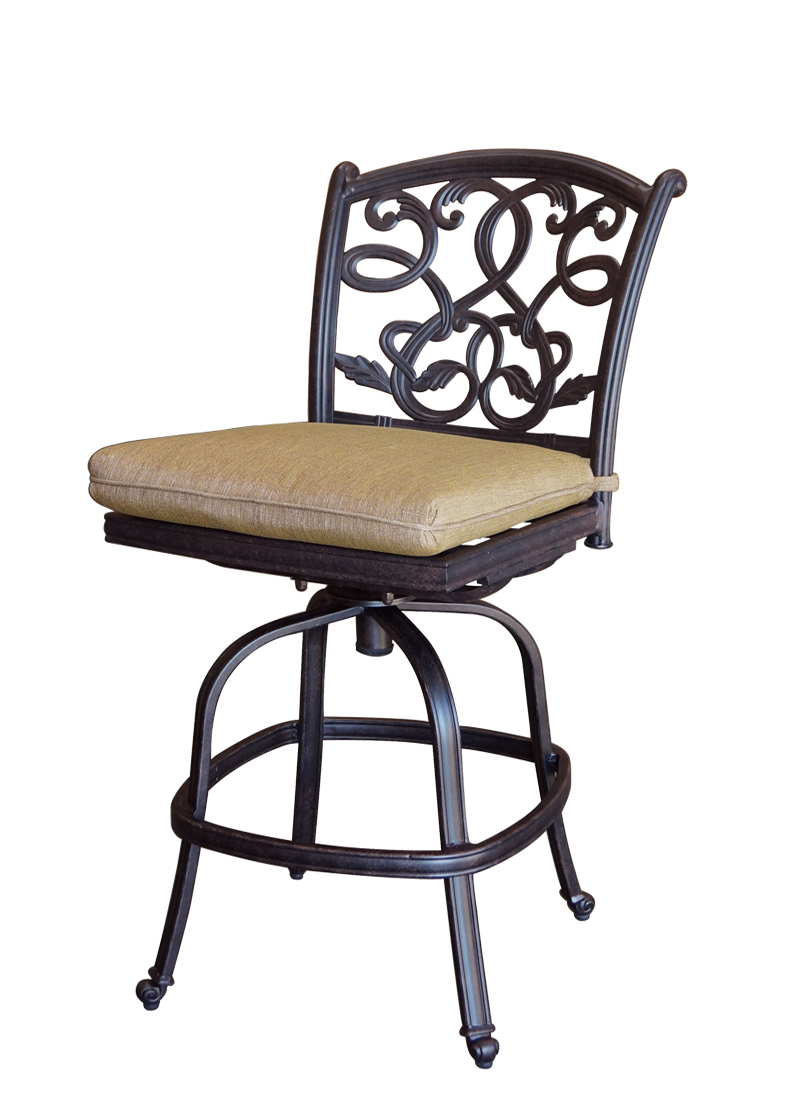 Patio Furniture Cast Aluminum Counter Stool Swivel Armless