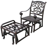 Patio Furniture Glider Cast Aluminum w/Ottoman Santa Monica