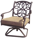 Patio Furniture Cast Aluminum Deep Seating Rocker Swivel Club Chair Santa Monica