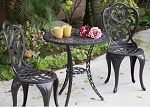Patio Furniture Bistro Set Cast Aluminum 3pc Hampton