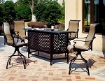 Patio Furniture Party Bar Set Cast Aluminum 5pc Monterey