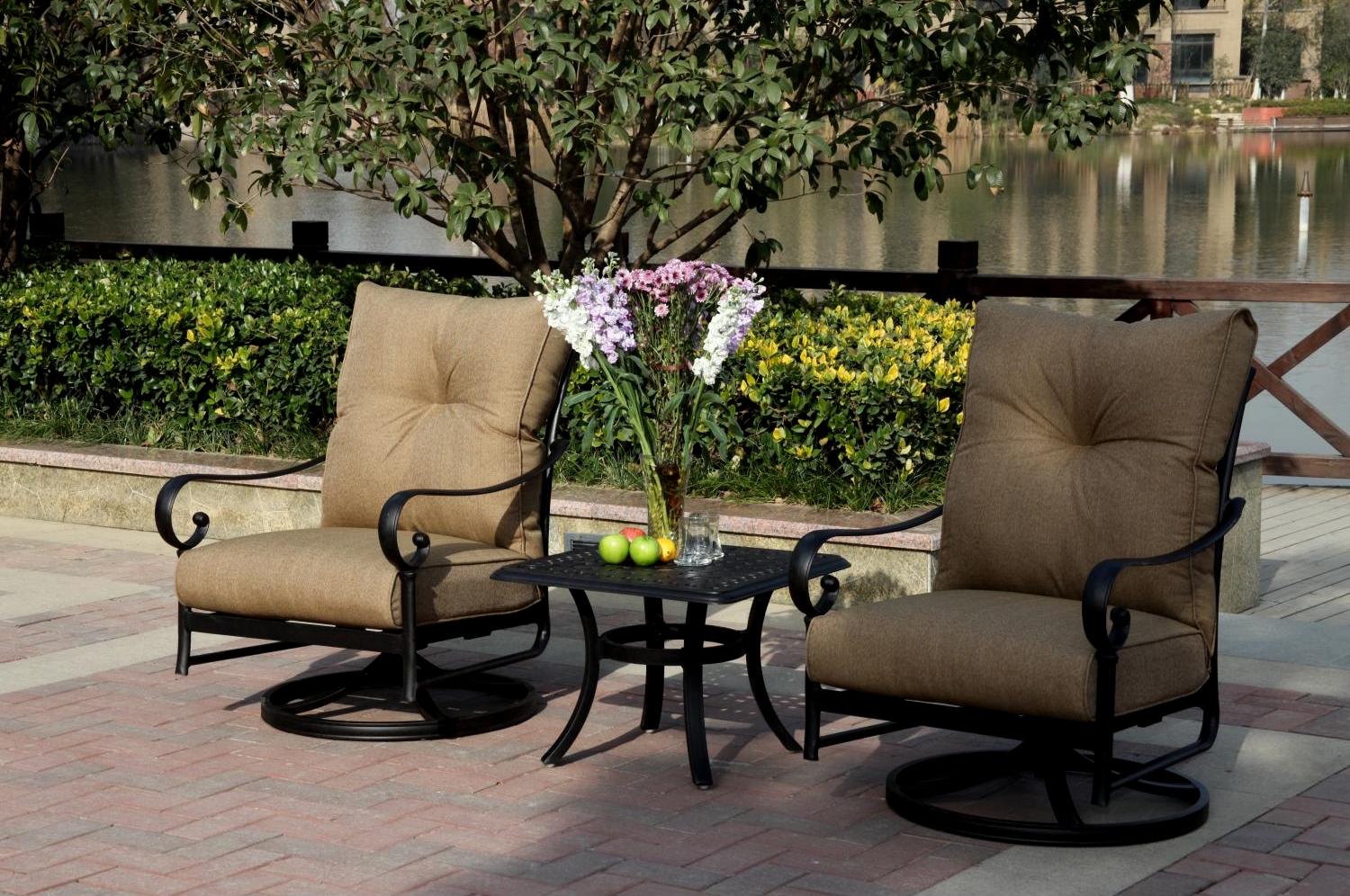 Patio Furniture Cast Aluminum Rocker Set Swivel 3pc Santa ...