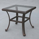 Patio Furniture Table End Cast Aluminum Glass Top Series 50