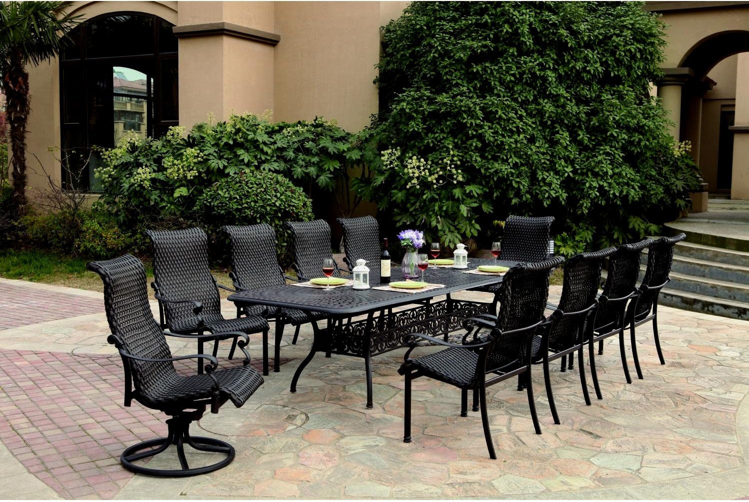 Patio Furniture Wicker Aluminum Dining Set 11pc Victoria