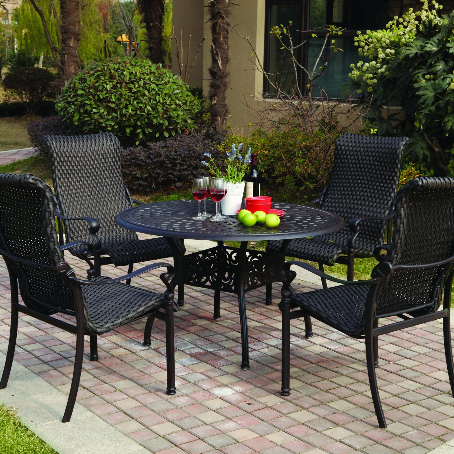 Patio Furniture Wicker Aluminum Dining Set 5pc Victoria