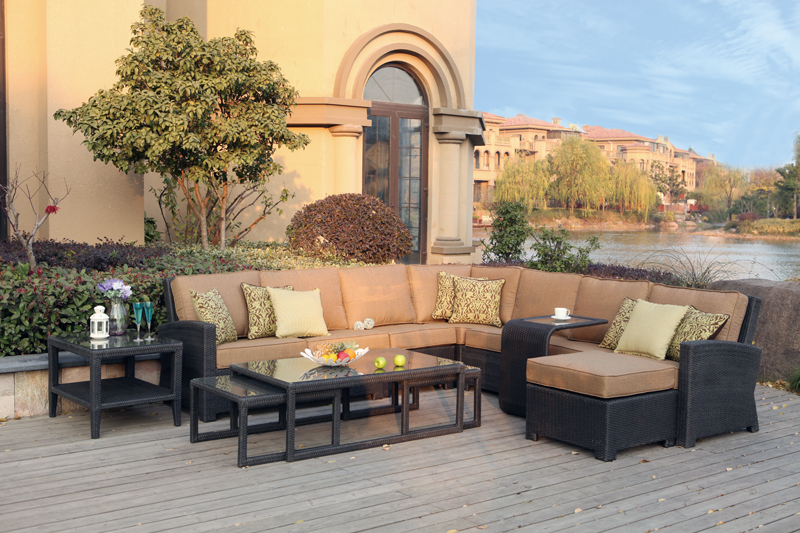 Patio Furniture All Weather Wicker Deep Seating Set Sectional 9pc Vienna