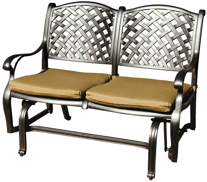 Cast Aluminum Loveseat Glider Bench