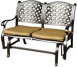 Patio Furniture Glider Cast Aluminum Loveseat Nassau