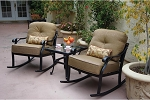Patio Furniture Deep Seating Club Rockers Cast Aluminum Classic 3pc Nassau