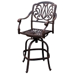 Patio Furniture Bar Stool Swivel Cast Aluminum Lisse