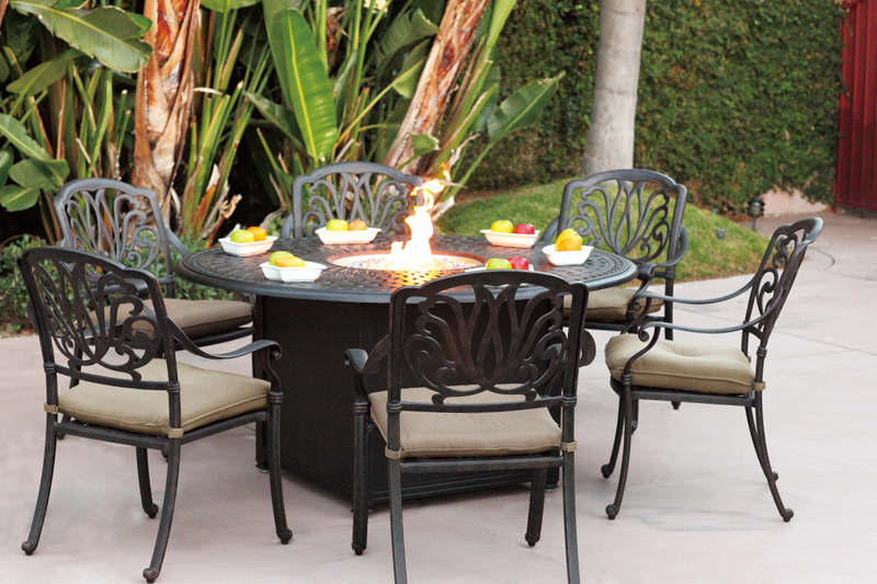 Round Table Patio Dining Sets.Patio Furniture Dining Set Cast Aluminum 60 Round Propane Fire Pit Table 7pc Lisse