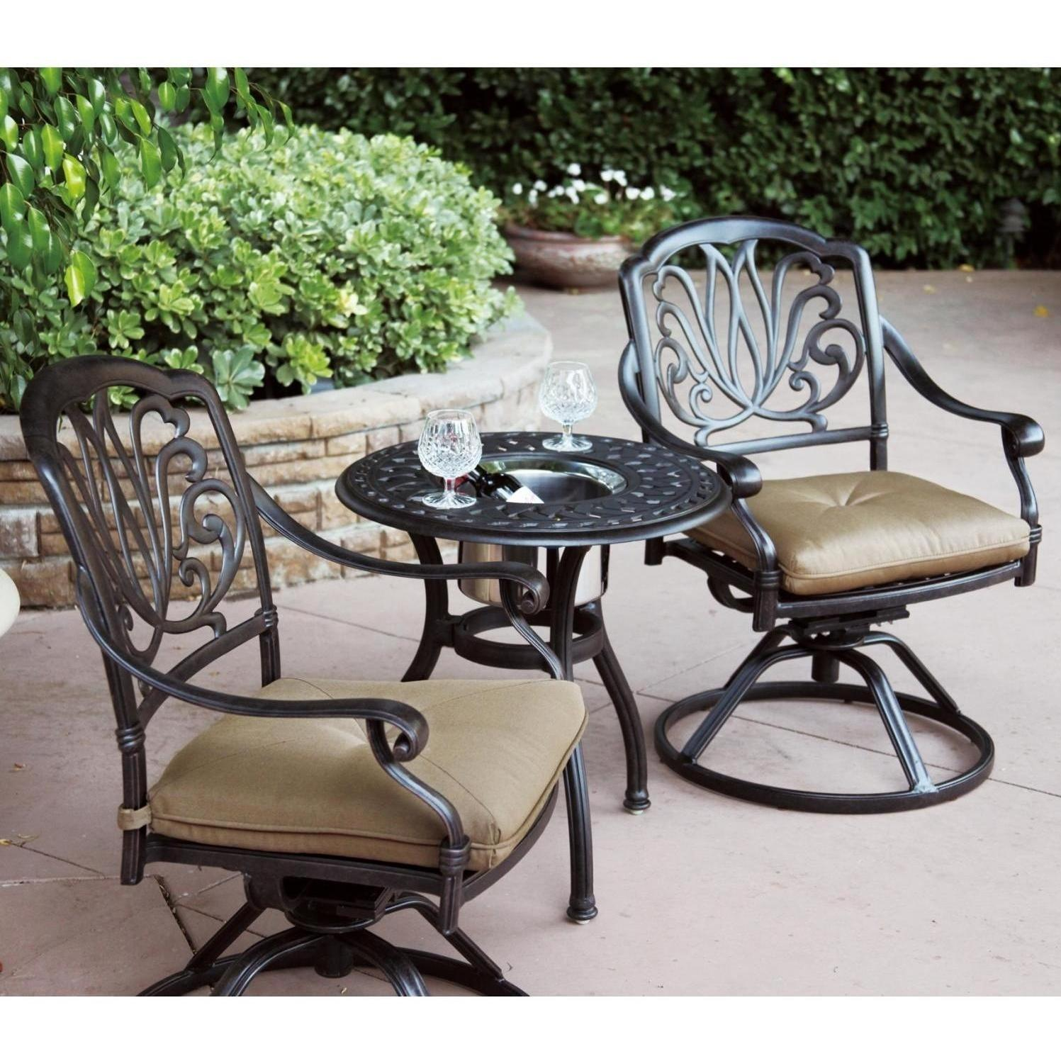 patio furniture bistro set cast aluminum swivel rocker 3pc lisse. Black Bedroom Furniture Sets. Home Design Ideas