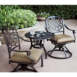 Patio Furniture Bistro Set Cast Aluminum Swivel Rocker 3pc Lisse