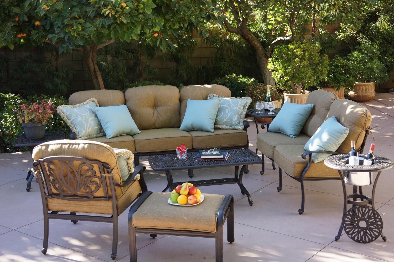 Patio Furniture Deep Seating Set Cast Aluminum 8pc Lisse