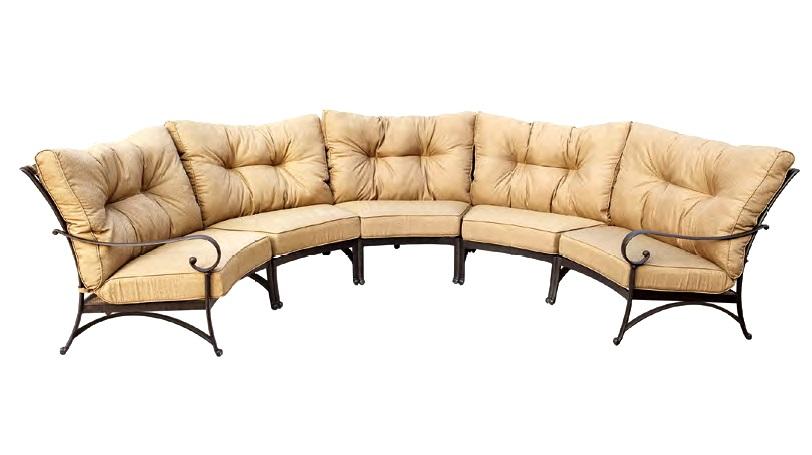Fantastic Patio Furniture Deep Seating Sectional Cast Aluminum Set Crescent  YR08