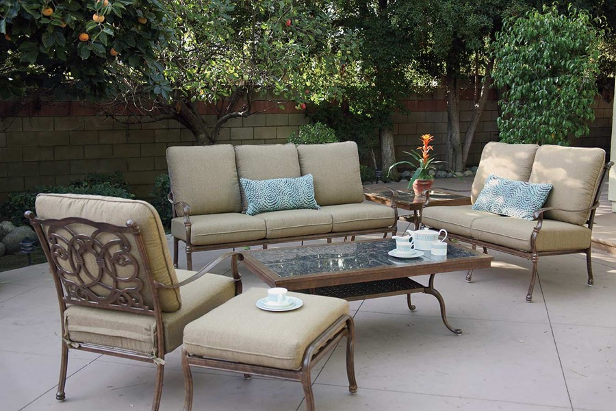 Patio Furniture Deep Seating Set Cast Aluminum 7pc Florence