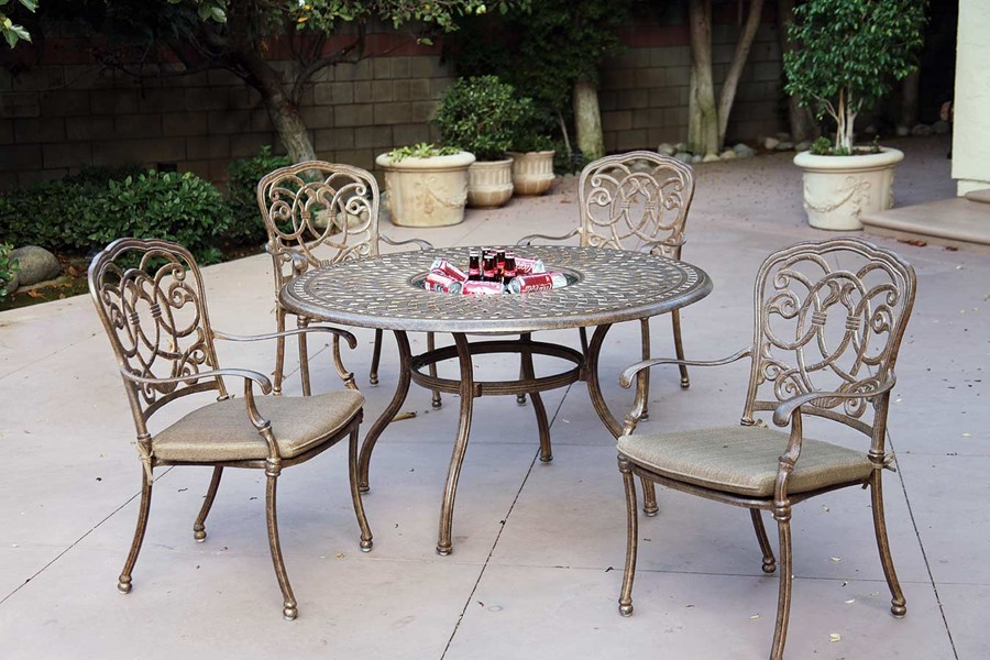 Round Table Patio Dining Sets.Patio Furniture Dining Set Cast Aluminum 52 Round Table W Ice Bucket 5pc Florence