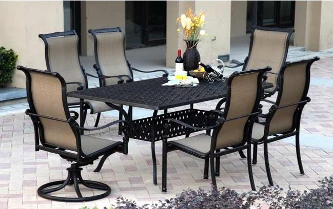 Patio Furniture Aluminum Sling Dining Set 72 Quot Rectangular Table 7pc Monterey
