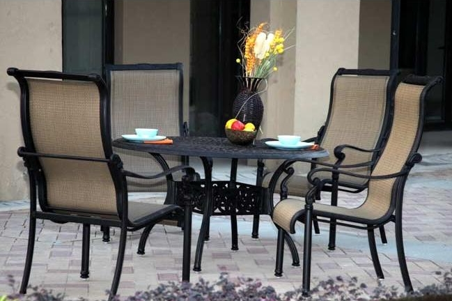 "Patio Furniture Aluminum/Sling Dining Set 48"" Round Table"