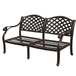 Patio Furniture Deep Seating Loveseat Cast Aluminum Nassau