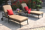Patio Furniture Chaise Lounge Cast Aluminum 3pc Santa Monica
